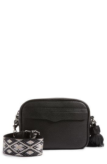 Rebecca Minkoff  LEATHER CAMERA BAG WITH GUITAR STRAP - BLACK