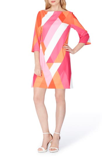 1960s – 70s Dresses- Retro Inspired Fashion Womens Tahari Print Shift Dress Size 12 - Pink $128.00 AT vintagedancer.com