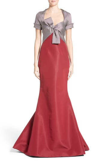 Women's Carolina Herrera Bow Front Colorblock Gown