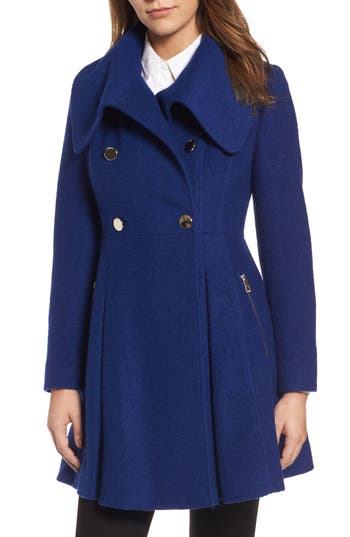 Petite Women's Guess Envelope Collar Double Breasted Coat