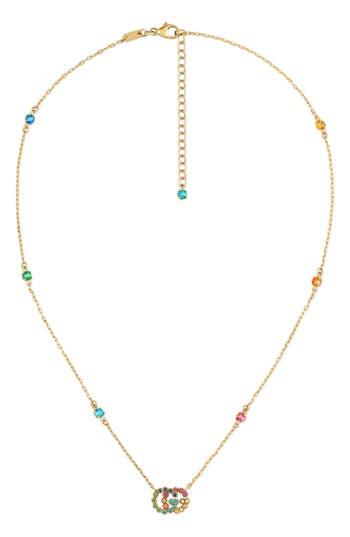 Women's Gucci Running G Semiprecius Stone Pendant Necklace