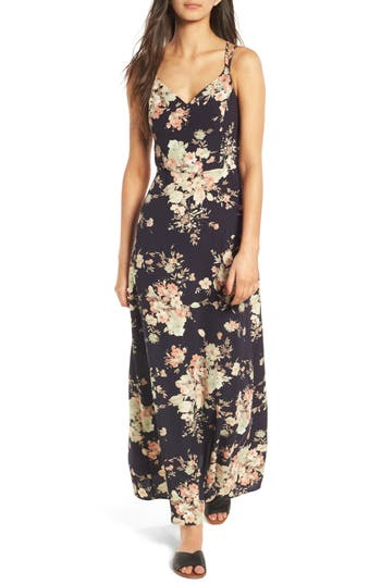 Women's Soprano Floral Strappy Back Maxi Dress, Size Medium - Blue