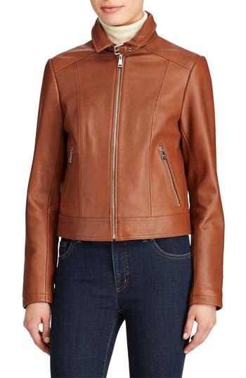 Women's Lauren Ralph Lauren Shirt Collar Leather Jacket