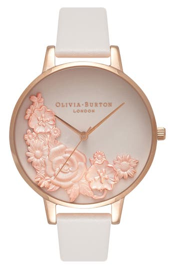 Women's Olivia Burton Begin To Blush Leather Strap Watch, 38Mm