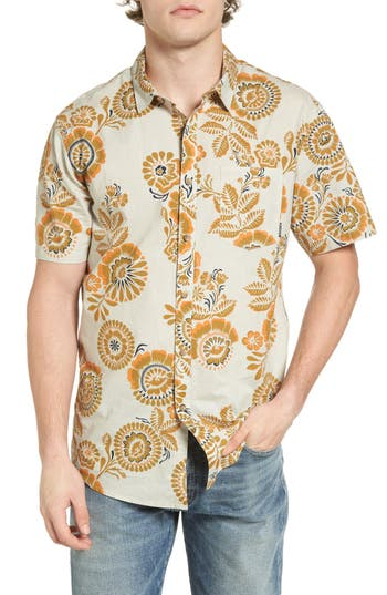 1960s Style Men's Clothing, 70s Men's Fashion Mens Billabong Sundays Floral Woven Shirt Size X-Large - Grey $54.95 AT vintagedancer.com