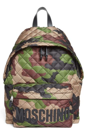 Moschino Quilted Nylon Logo Backpack - Green