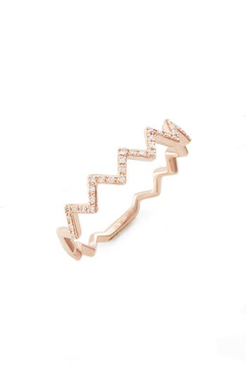 Women's Ef Collection Zigzag Diamond Stack Ring