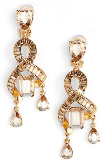 Women's Oscar De La Renta Intertwined Baguette Crystal Earrings