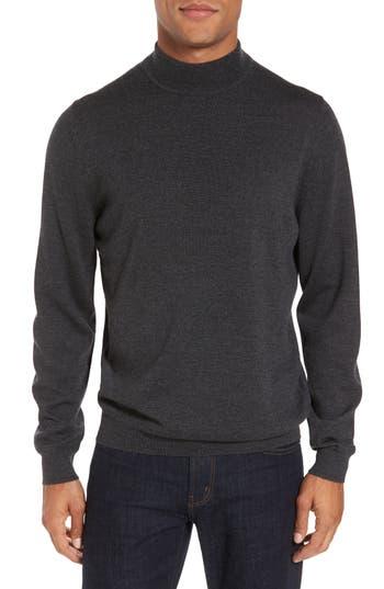 Nordstrom Shop Mock Neck Merino Wool Sweater, Grey