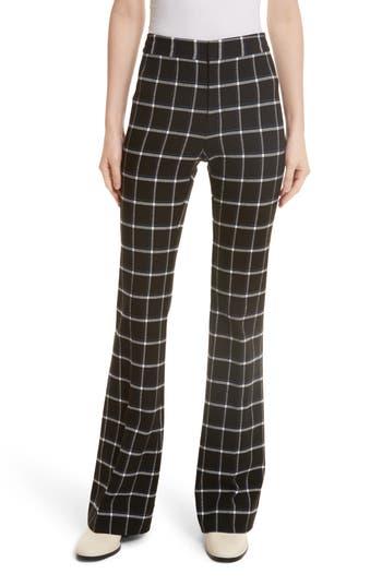 Women's Derek Lam 10 Crosby Windowpane Check Flare Trousers, Size 2 - Black
