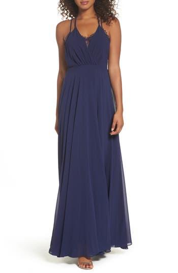 Women's Lulus Celebrate The Moment Lace Trim Chiffon Maxi Dress, Size X-Small - Blue