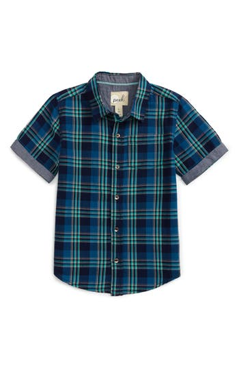 Boy's Peek Kyle Plaid Short Sleeve Woven Shirt