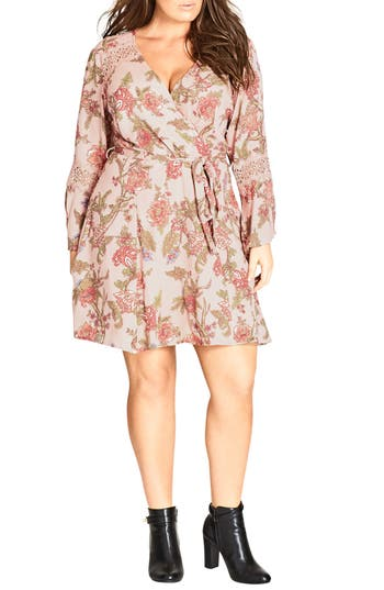 Plus Size Women's City Chic Floral Print Wrap Dress, Size X-Small - Pink