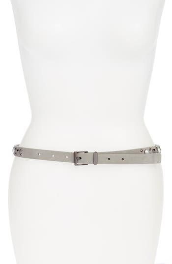Women's Halogen Imitation Pearl Studded Skinny Belt