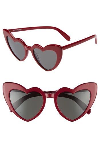 Saint Laurent Loulou 5m Heart Sunglasses - Red/ Grey