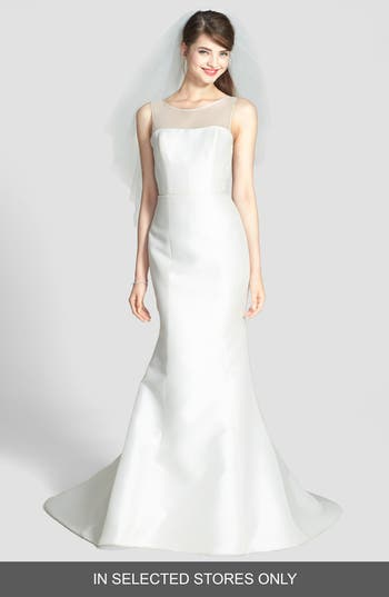 Women's Amsale Preston Silk Magnolia Sheath Wedding Dress