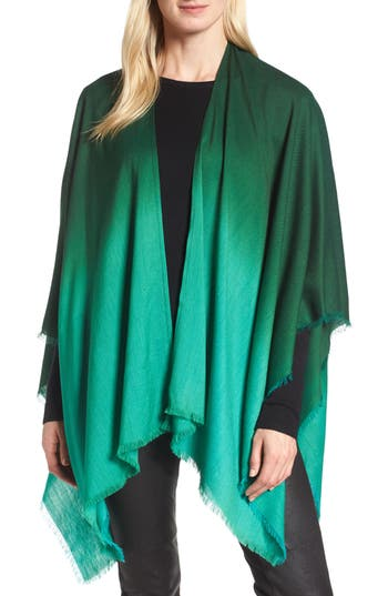 Women's Eileen Fisher Ombre Poncho Wrap, Size One Size - Green