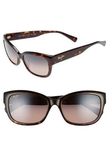 Maui Jim Plumeria 55Mm Polarized Cat Eye Sunglasses - Dark Tortoise/ Maui Rose