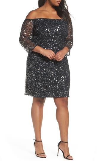 Plus Size Women's Pisarro Nights Beaded Off The Shoulder Sheath Dress