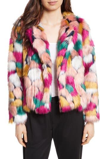 Women's Milly Faux Fur Jacket, Size Petite - Pink
