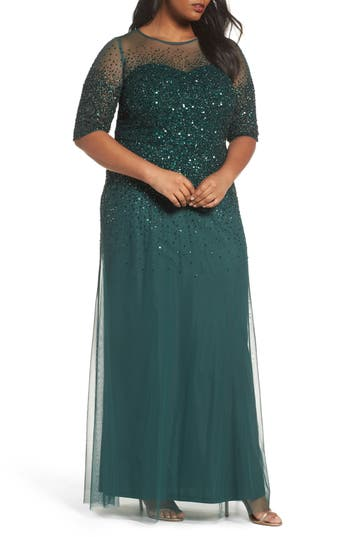 Plus Size Women's Adrianna Papell Beaded Illusion Gown