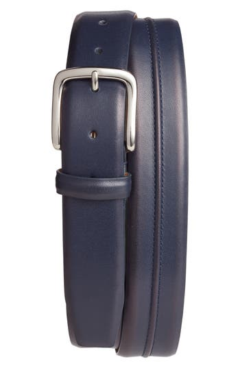 Cole Haan Pinched Seam Leather Belt, Marine Blue
