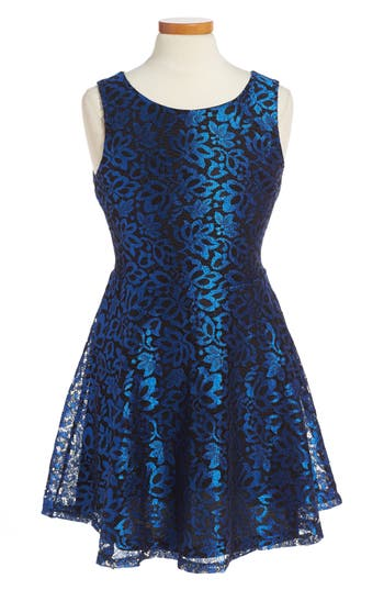 Girl's Penelope Tree Carrie Lace Fit & Flare Dress