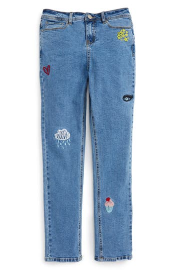 Girl's Maddie Embroidered Relaxed Jeans, Size 7 - Blue