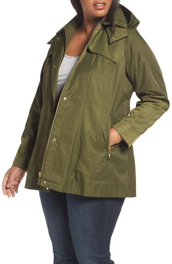 Plus Size Women's Kristen Blake Packable Fit & Flare Raincoat, Size 1X - Green