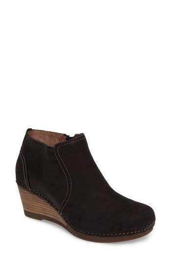 Dansko Susan Wedge Bootie-6- Black