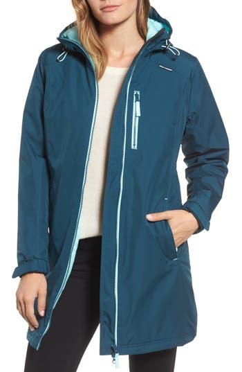 Women's Helly Hansen 'Belfast' Long Waterproof Winter Rain Jacket, Size Small - Green