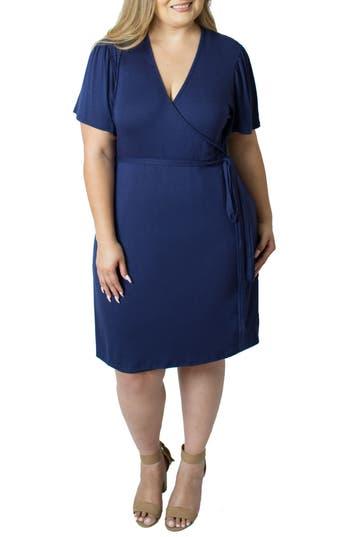 Plus Size Women's Udderly Hot Mama Wrap Nursing Dress, Size 1X (14W-16W US) - Blue