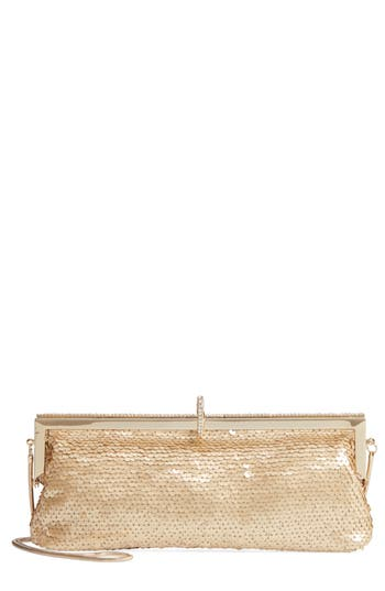 Badgley Mischka Dazzle Sequin Frame Clutch - Metallic
