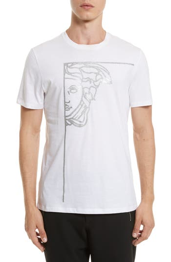 Versace Collection Glitter Stamp Medusa Graphic T-Shirt, White