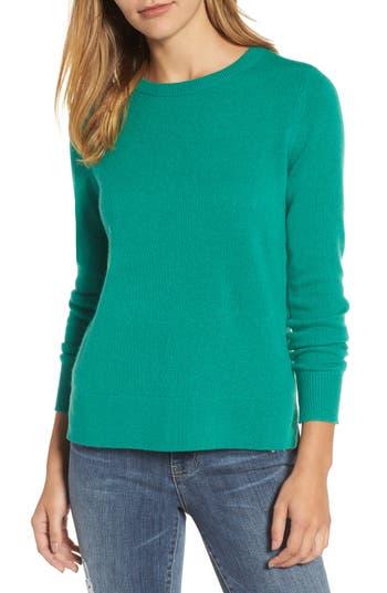 Petite Women's Halogen Crewneck Cashmere Sweater, Size Large P - Green