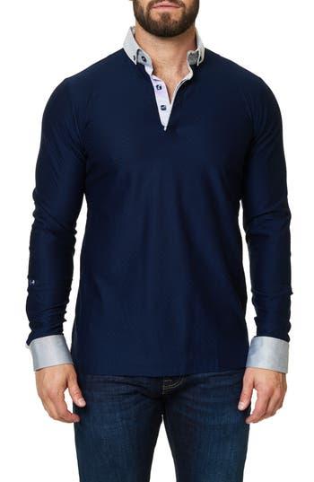 Men's Maceoo Woven Trim Mercerized Jersey Polo
