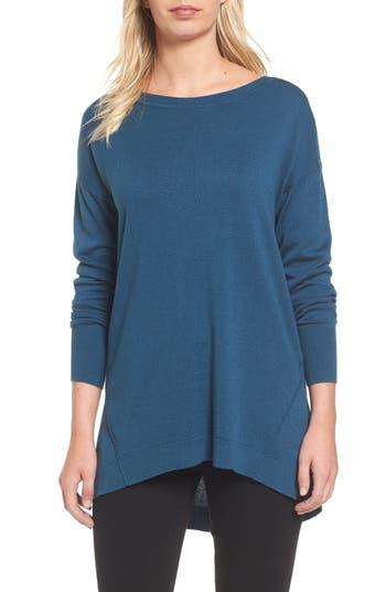 Women's Caslon Zip Back High/low Tunic Sweater, Size X-Small - Blue