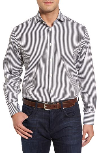 Men's Thomas Dean Regular Fit Stripe Herringbone Sport Shirt