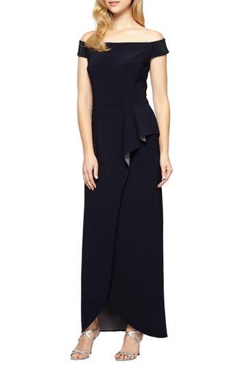 Women's Alex Evenings Embellished Off The Shoulder Gown