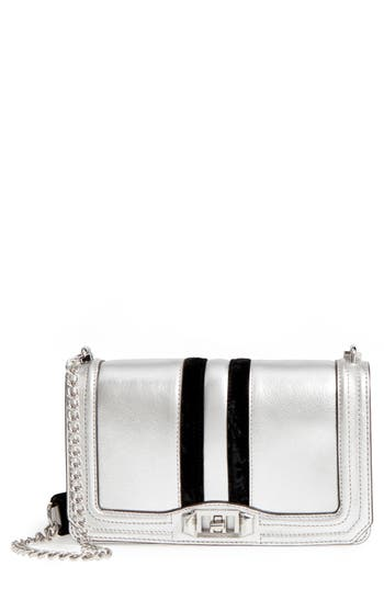 Rebecca Minkoff Love Velvet Stripe Metallic Leather Crossbody Bag - Metallic