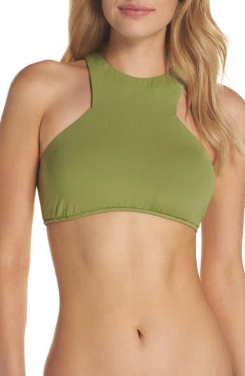 Women's Seafolly High Neck Bikini Top, Size 4 US / 8 AU - Green