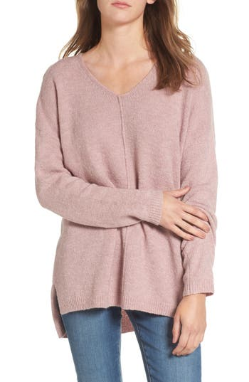 Women's Dreamers By Debut Exposed Seam Tunic Sweater, Size X-Small - Pink