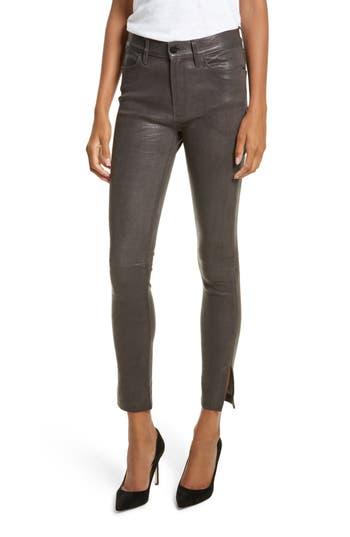 Frame Le High Skinny Leg Leather Pants With Slit Hem In