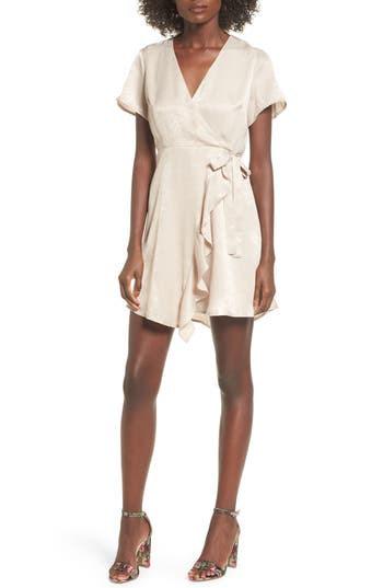 Women's Satin Faux Wrap Dress, Size X-Small - Beige