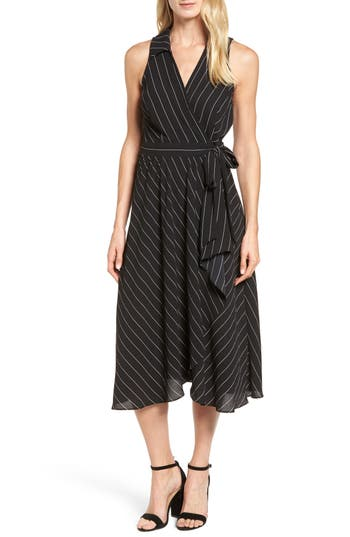 Women's Halogen Collared Wrap Midi Dress, Size X-Small - Black