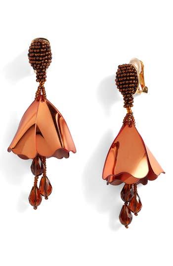 Women's Oscar De La Renta Large Impatiens Flower Clip Earrings