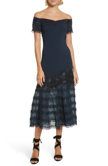 Jonathan Simkhai Lace Applique Crepe Off The Shoulder Trumpet Dress, Blue