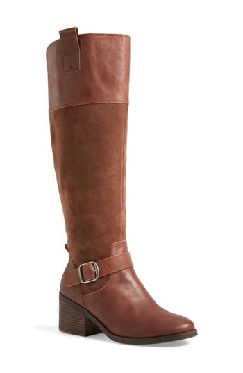Lucky Brand Kailan Ankle Strap Tall Boot, Regular Calf- Brown