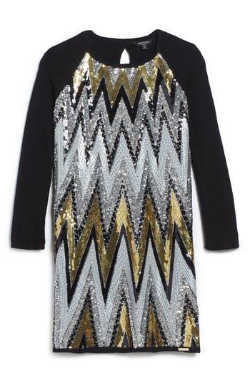Girl's Marciano Chevron Sequin Sweater Dress, Size 14 - Black