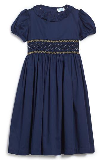 Girl's Luli & Me Smocked Dress, Size 5 - Blue